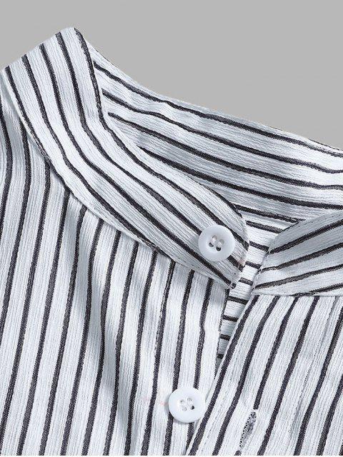 fashion Curved Hem Stripes Shirt - BLACK M Mobile