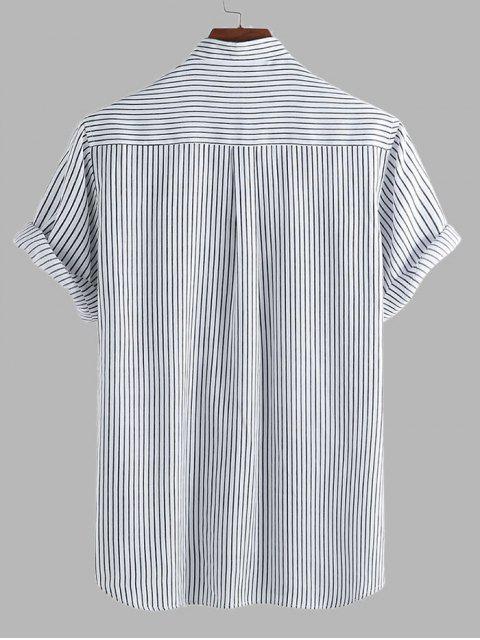 chic Curved Hem Stripes Shirt - BLACK L Mobile