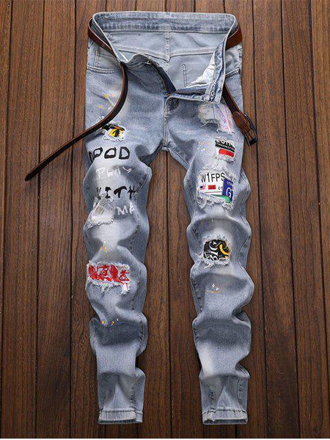 trendy Letter Splatter Paint Patch Hole Pencil Jeans - LIGHT BLUE 32 Mobile