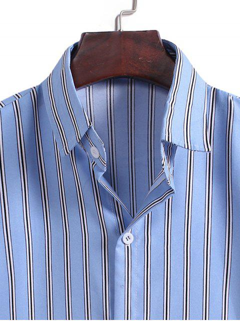 outfit Vertical Stripes Casual Shirt - LIGHT BLUE XL Mobile