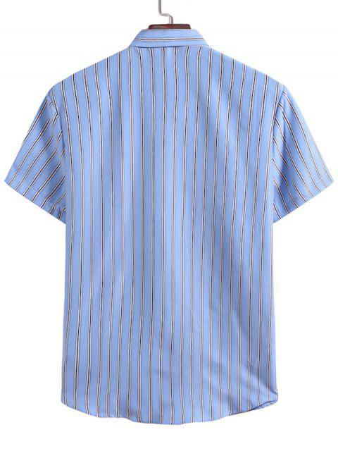Vertikale Streifen Lässiges Hemd - Hellblau 2XL Mobile