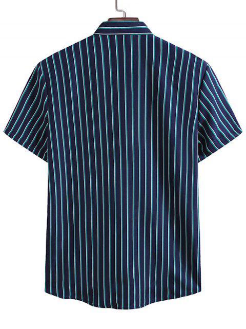 Vertical Stripes Casual Shirt - منتصف الليل الأزرق XL Mobile