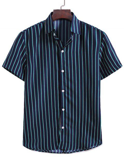sale Vertical Stripes Casual Shirt - MIDNIGHT BLUE XL Mobile