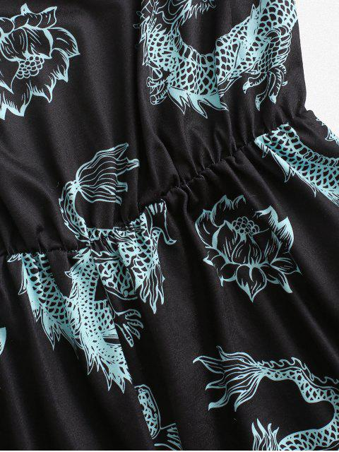 new ZAFUL Dragon Print Oriental Halter Ringer Romper - BLACK S Mobile