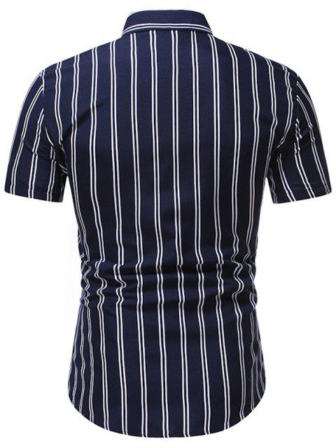 outfits Vertical Striped Pattern Button Down Shirt - MIDNIGHT BLUE M Mobile