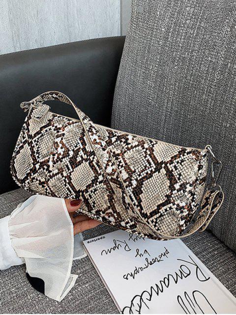 best Snake Print Leather One Shoulder Bag - LIGHT COFFEE  Mobile