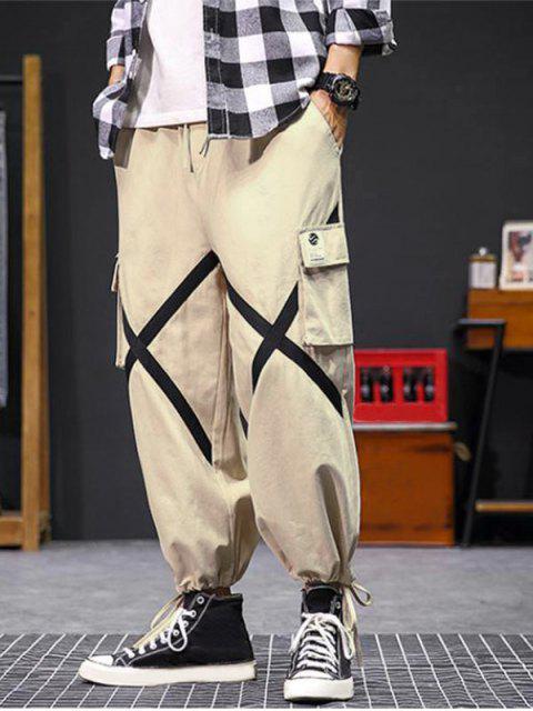 online Cross Flap Pocket Cargo Jogger Pants - KHAKI 2XL Mobile