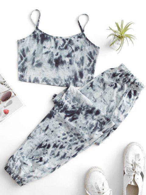 womens ZAFUL Tie Dye Pocket Drawstring Jogger Pants Set - GRAY S Mobile