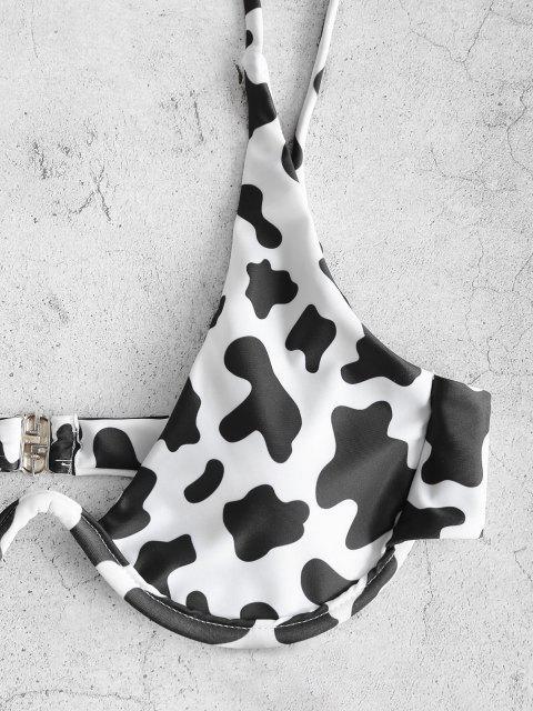Costume da Bagno Bikini Stampato in Pelle di Mucca con Ferretto di ZAFUL - Nero M Mobile