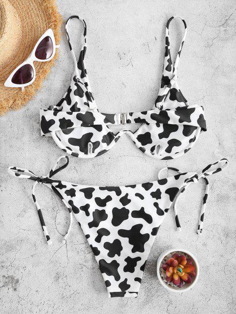 outfits ZAFUL Cow Print Underwire Tie Side Bikini Swimwear - BLACK M Mobile