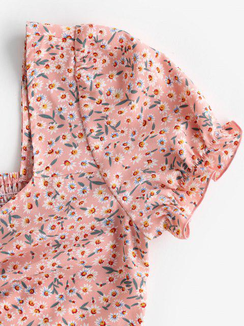 women's ZAFUL Ditsy Print Smocked Ruffle Cinched Crop Blouse - PINK ROSE L Mobile