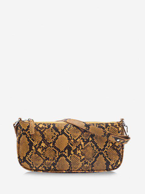 shops Snake Print Leather One Shoulder Bag - DEEP YELLOW  Mobile