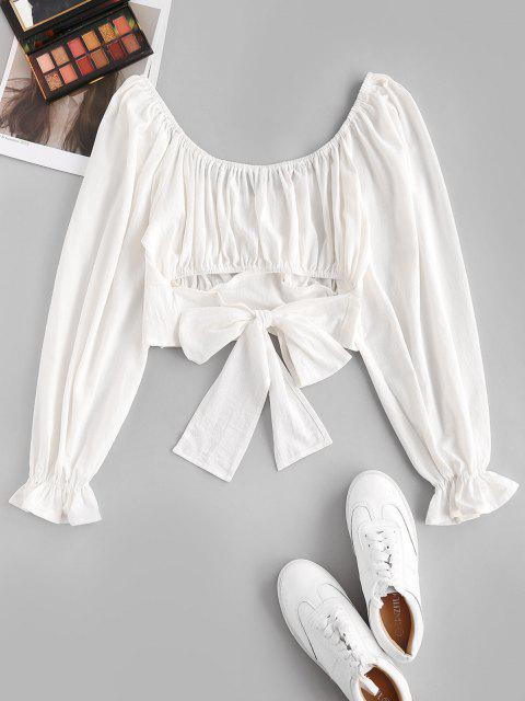 women's ZAFUL Poet Sleeve Tie Back Crop Blouse - WHITE XL Mobile