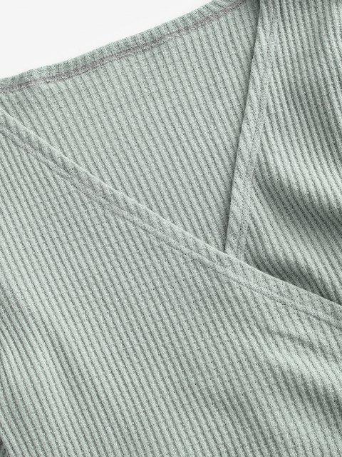 unique Knit Long Sleeve Wrap Top - GREEN L Mobile
