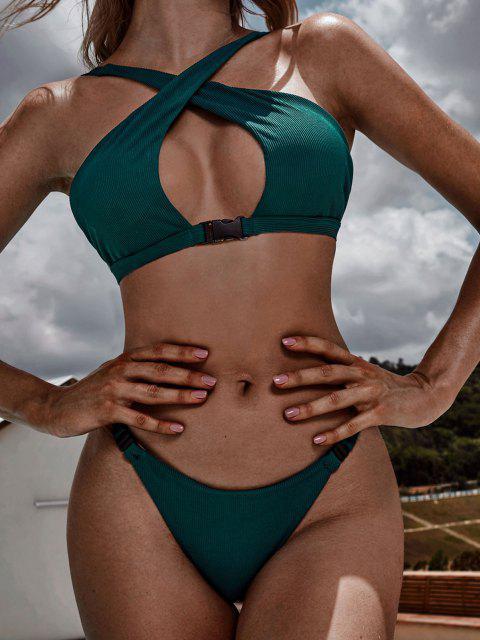 shop ZAFUL Crossover Buckled Ribbed Bikini Swimwear - GREENISH BLUE L Mobile