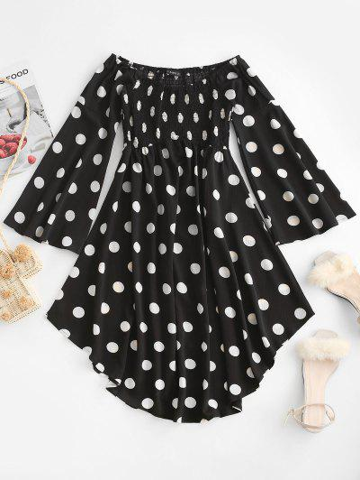 ZAFUL Polka Dot Flare Sleeve Off Shoulder Dress - Black S