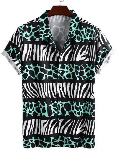 Camisa De Vacaciones De Estampado De Cebra - Verde L