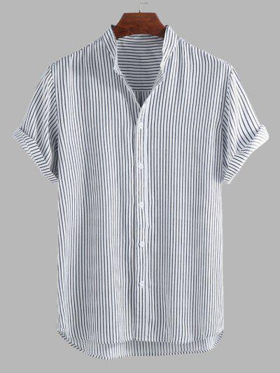 Camisa A Rayas Dobladillo Curvado - Negro Xl