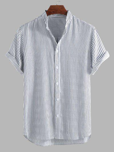 Curved Hem Stripes Shirt - Black 2xl