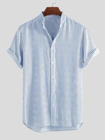 Camisa A Rayas Dobladillo Curvado - Azul L