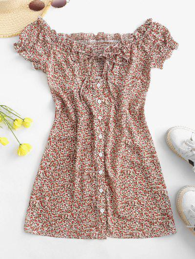 Ditsy Floral Button Front Frilled Tie Dress - Deep Red S
