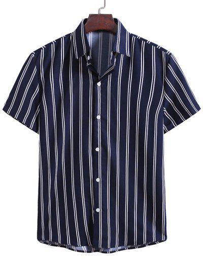 Camisa Rayas Verticales Abotonada - Azul De Medianoche L