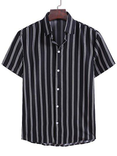 Vertical Striped Pattern Button Down Shirt - Black L