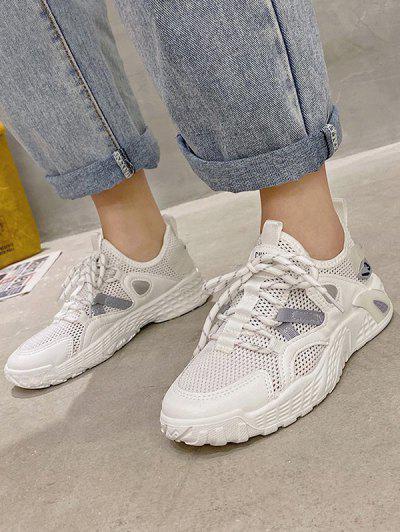 Contrast Trim Breathable Mesh Skate Sneakers - Gray Eu 38
