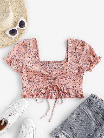 ZAFUL Ditsy Print Smocked Ruffle Cinched Crop Blouse - Pink Rose S