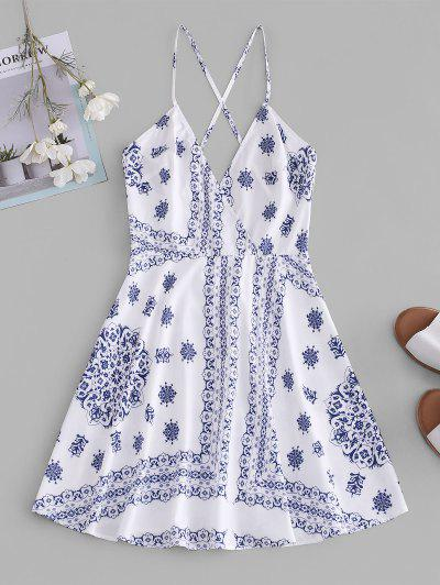 ZAFUL Crisscross Scarf Print Mini Dress - White M