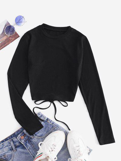 ZAFUL Self Tie Open Back Knit Tee - Black M