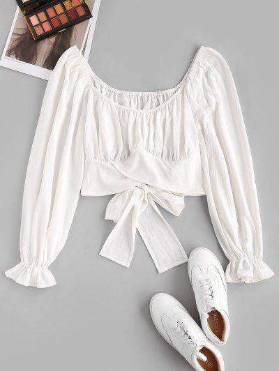 ZAFUL Poet Sleeve Tie Back Crop Blouse - White L