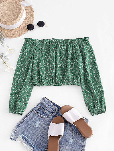 ZAFUL Ditsy Print Off The Shoulder Crop Blouse - Deep Green S