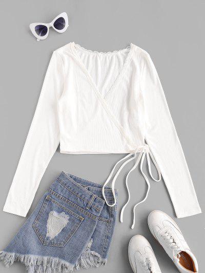 ZAFUL Ribbed Lace Insert Wrap T-shirt - White S