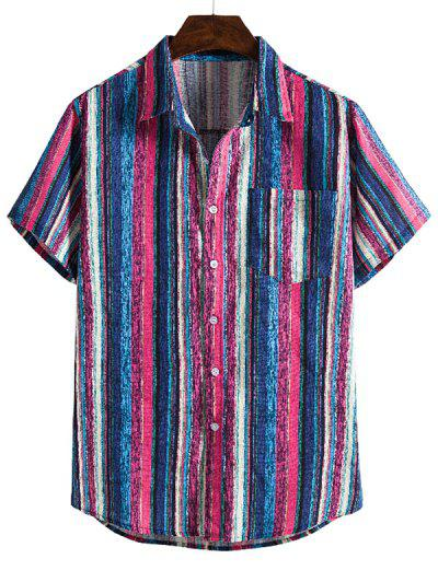 Colorful Striped Pocket Short Sleeve Linen Shirt - Blue 2xl
