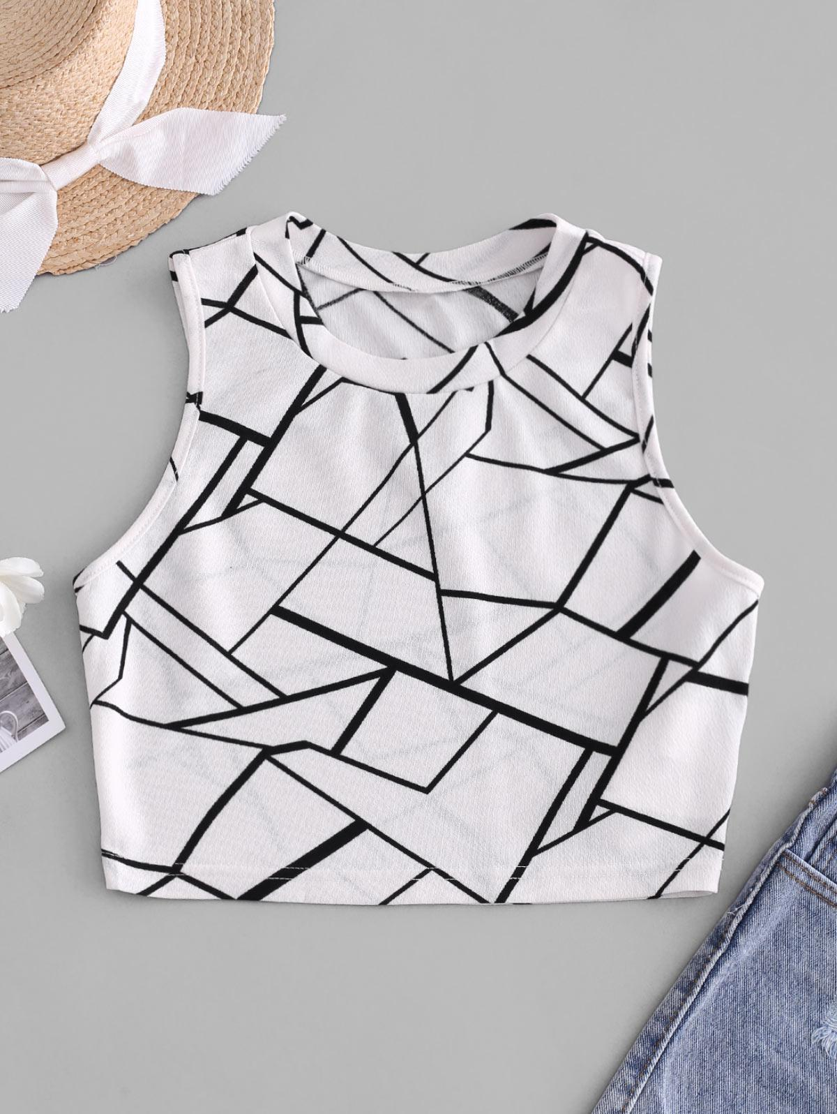 ZAFUL Geometry Basic Crop Top
