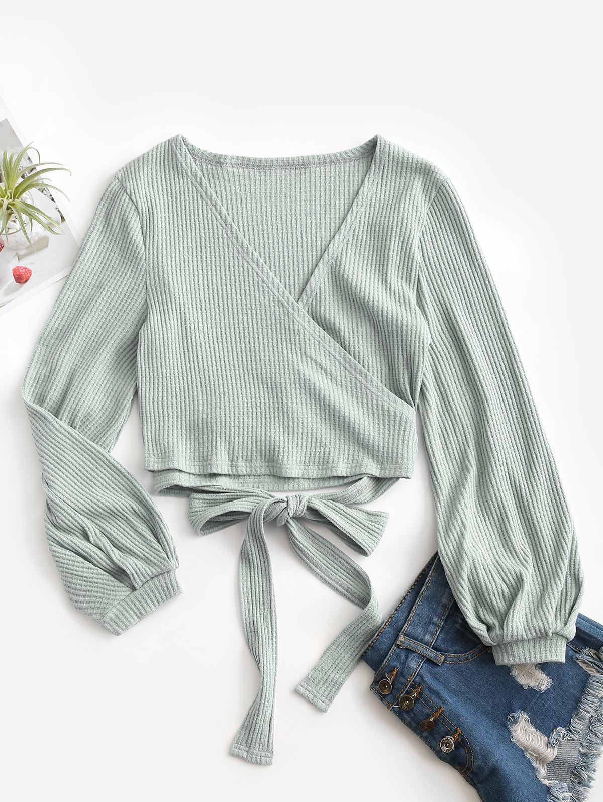 Knit Long Sleeve Wrap Top