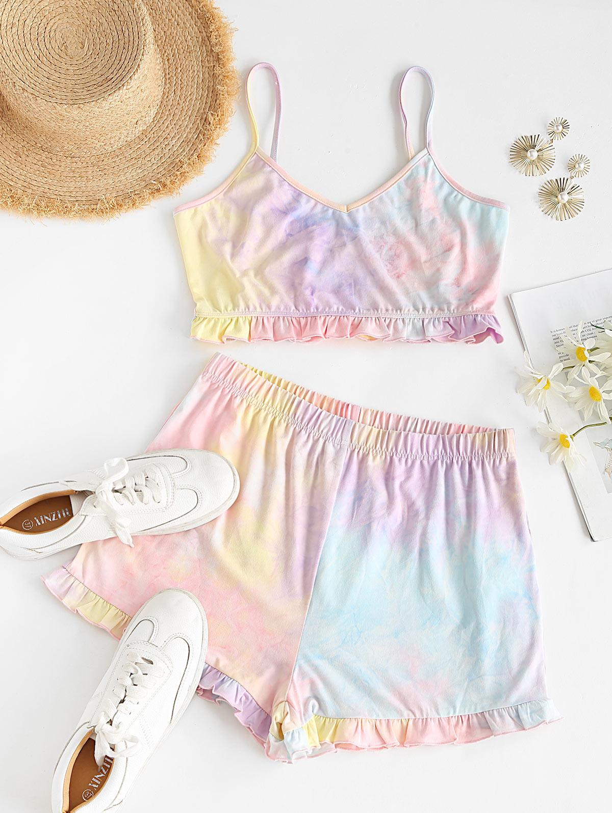 ZAFUL Tie Dye Ruffle Two Piece Shorts Set