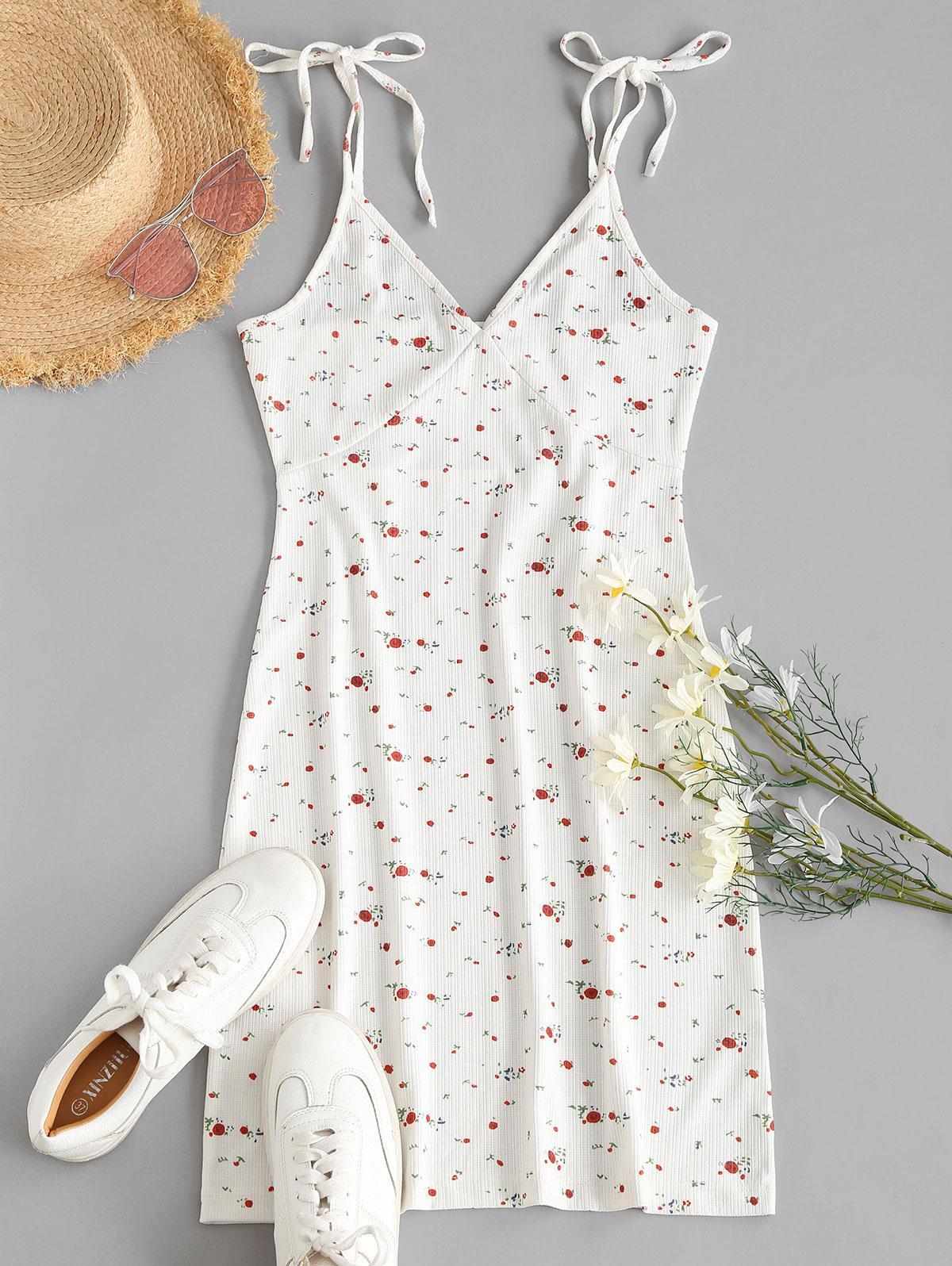Ditsy Print Tie Strap Cami Bodycon Dress