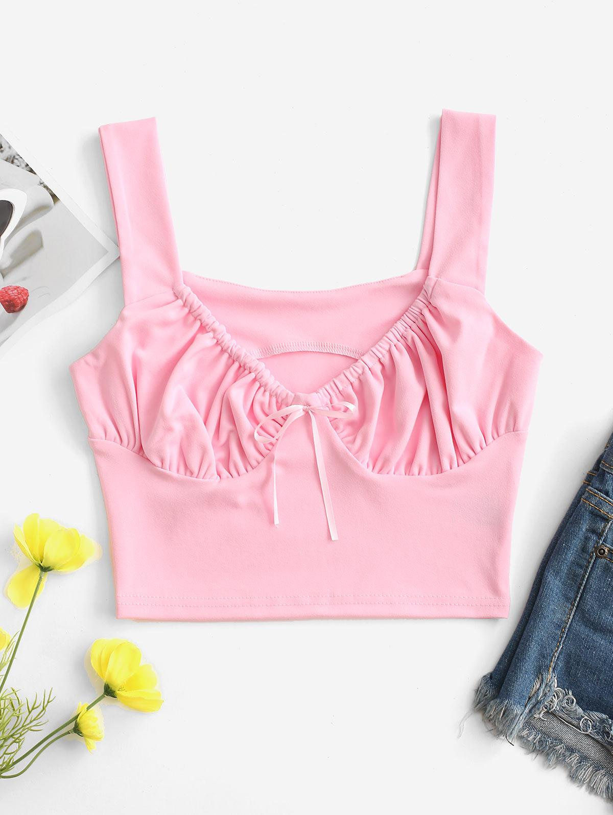 Ruched Sweetheart Neck Crop Tank Top