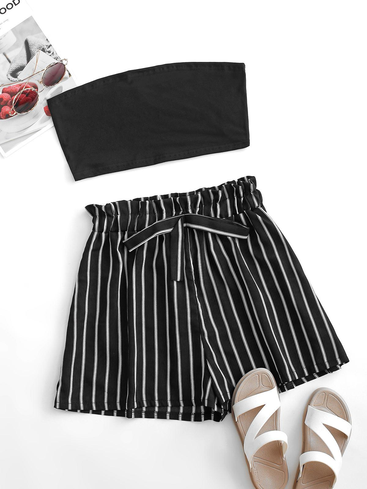 Strapless Bowknot Striped Two Piece Set