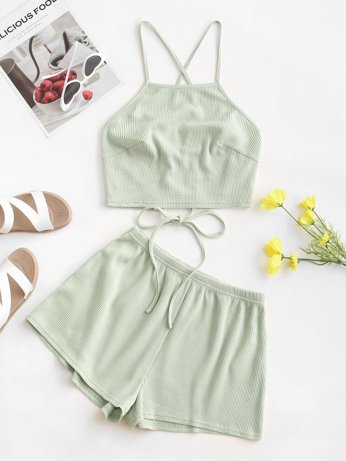 ZAFUL Textured Lace-up Cami Two Piece Set