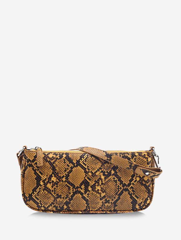 Snake Print Leather One Shoulder Bag