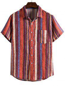 Vertical Striped Pocket Button Up Linen Shirt