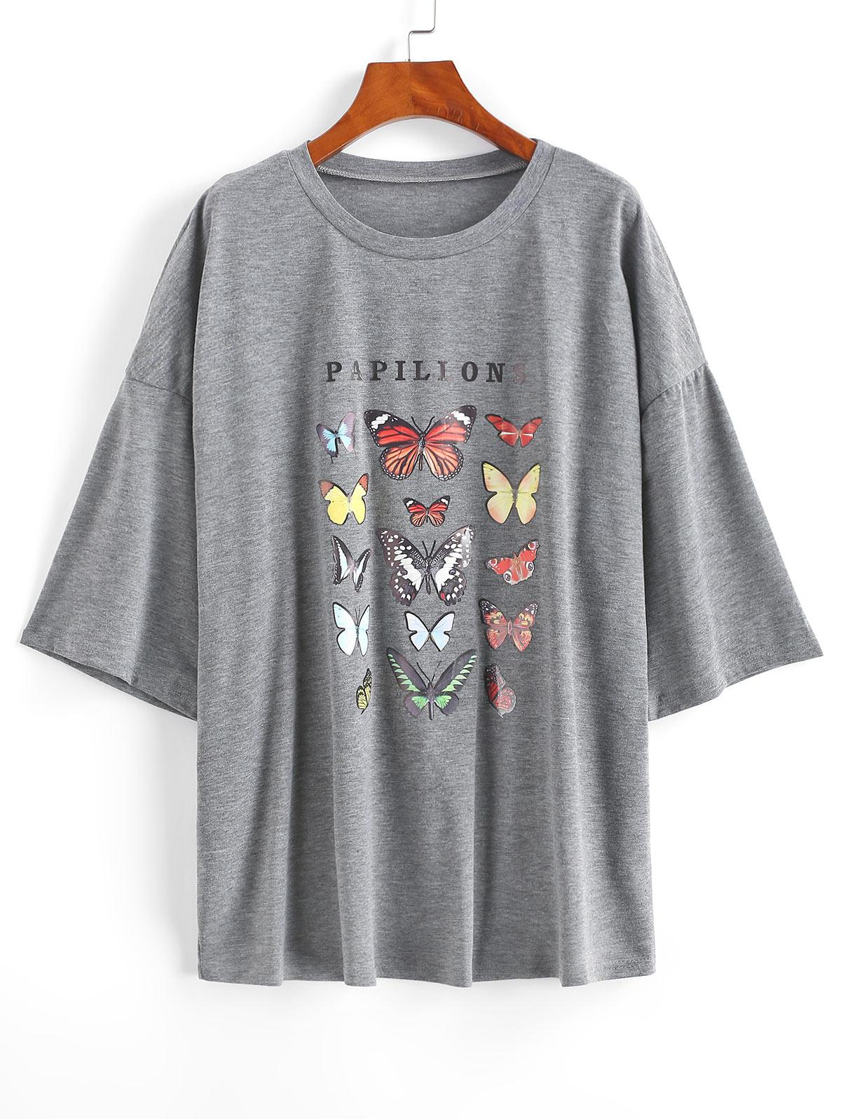 PAPILLONS Butterfly Graphic Boyfriend Tee