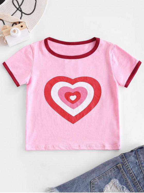 hot Heart Print Crop Ringer T-shirt - PINK ROSE S