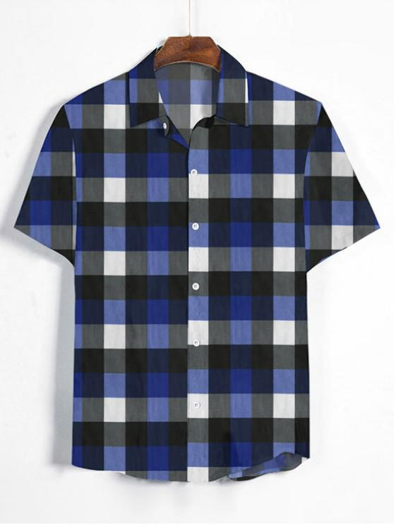 ladies Gingham Print Short Sleeve Shirt - DENIM DARK BLUE XL