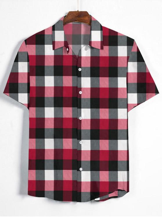 hot Gingham Print Short Sleeve Shirt - LAVA RED XL
