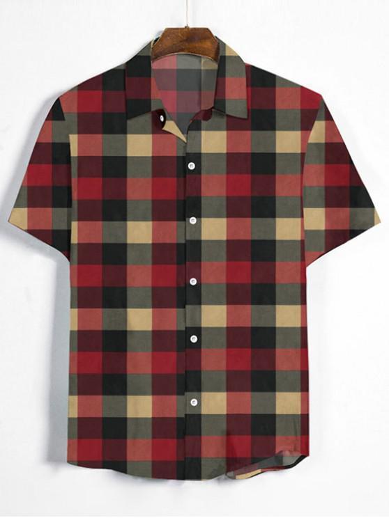 fashion Gingham Print Short Sleeve Shirt - MULTI-B 3XL