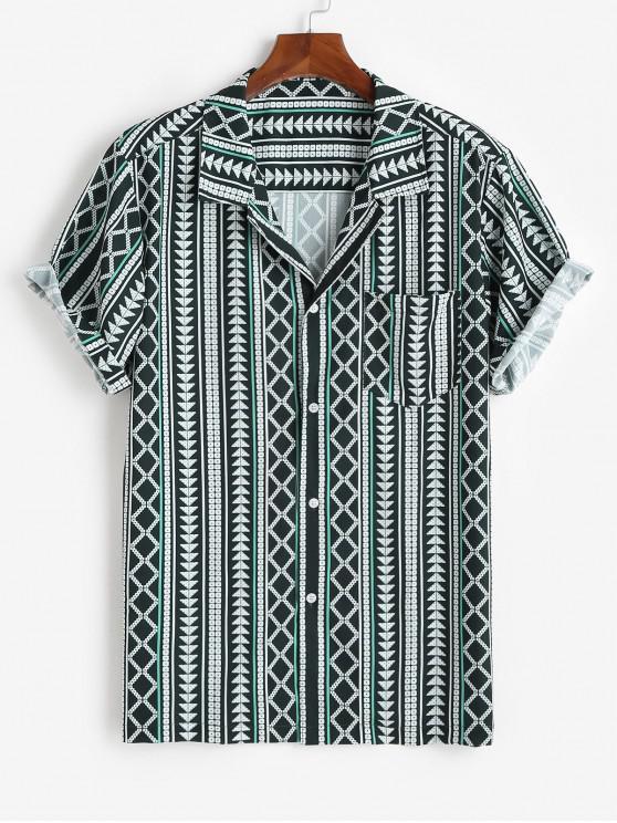 latest Geometric Pattern Chest Pocket Shirt - DEEP GREEN 3XL